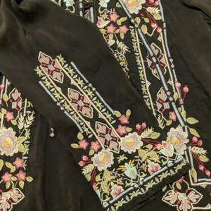 Johnny Was rayon black embroidery tunic